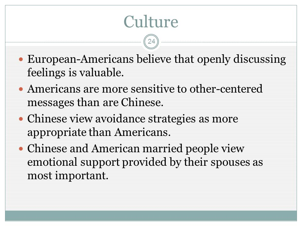 Culture 24 European-Americans believe that openly discussing feelings is valuable.