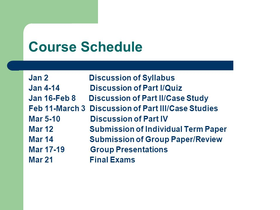 Course Schedule Jan 2 Discussion of Syllabus Jan 4-14 Discussion of Part I/Quiz Jan 16-Feb 8 Discussion of Part II/Case Study Feb 11-March 3 Discussion of Part III/Case Studies Mar 5-10 Discussion of Part IV Mar 12 Submission of Individual Term Paper Mar 14 Submission of Group Paper/Review Mar 17-19 Group Presentations Mar 21 Final Exams