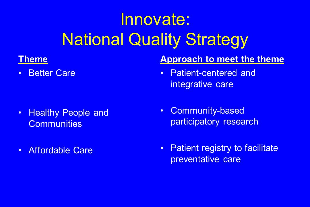 Innovate: National Quality Strategy Theme Better Care Healthy People and Communities Affordable Care Approach to meet the theme Patient-centered and integrative care Community-based participatory research Patient registry to facilitate preventative care