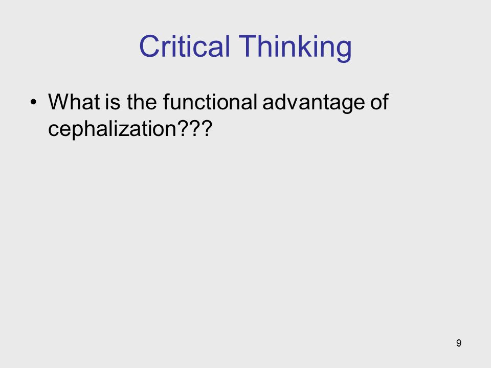 9 Critical Thinking What is the functional advantage of cephalization???