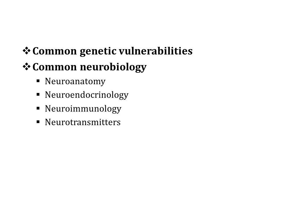  Common genetic vulnerabilities  Common neurobiology  Neuroanatomy  Neuroendocrinology  Neuroimmunology  Neurotransmitters