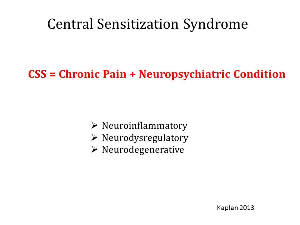 Central Sensitization Syndrome CSS = Chronic Pain + Neuropsychiatric Condition  Neuroinflammatory  Neurodysregulatory  Neurodegenerative Kaplan 2013
