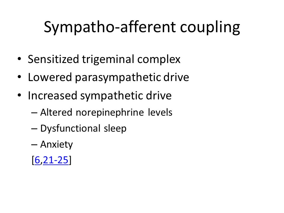 Sympatho-afferent coupling Sensitized trigeminal complex Lowered parasympathetic drive Increased sympathetic drive – Altered norepinephrine levels – Dysfunctional sleep – Anxiety [6,21-25]621-25