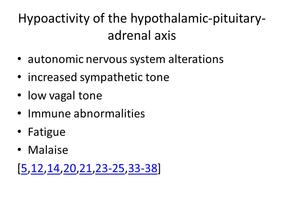 Hypoactivity of the hypothalamic-pituitary- adrenal axis autonomic nervous system alterations increased sympathetic tone low vagal tone Immune abnormalities Fatigue Malaise [5,12,14,20,21,23-25,33-38]51214202123-2533-38