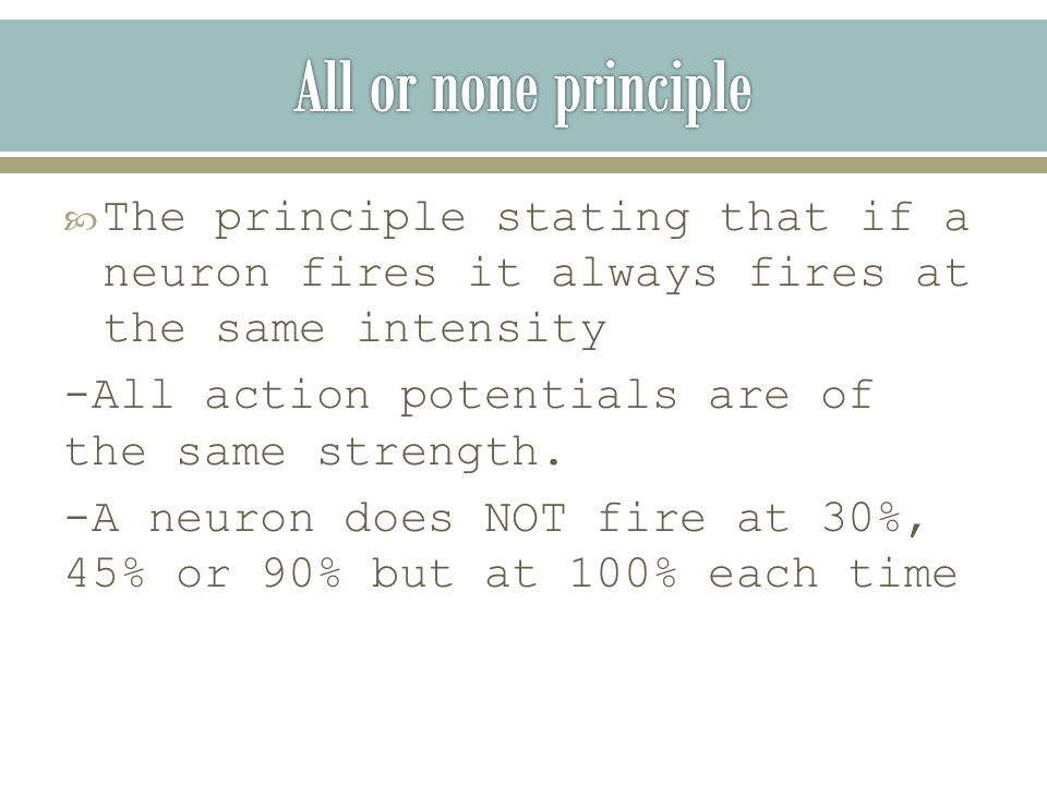  The principle stating that if a neuron fires it always fires at the same intensity -All action potentials are of the same strength.