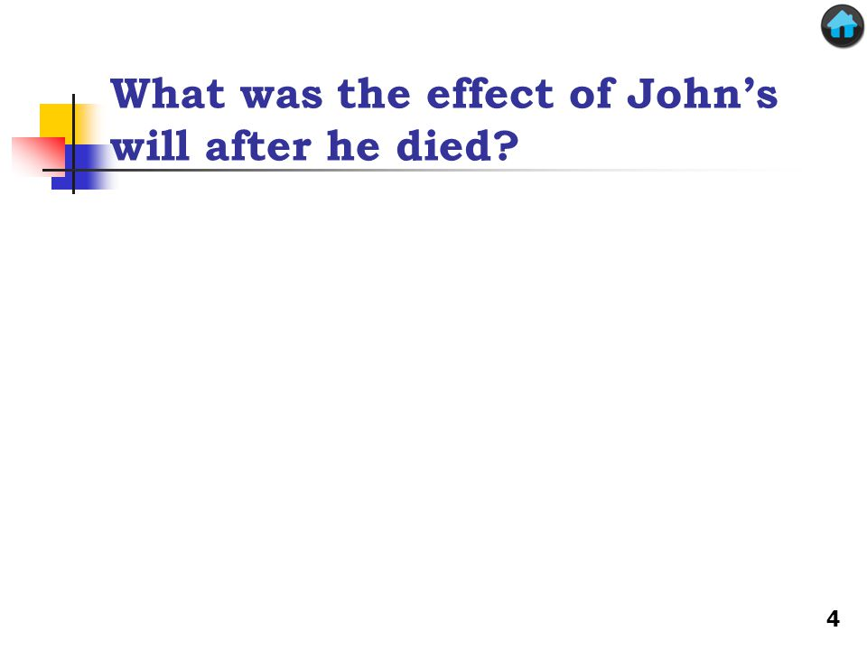 What was the effect of John's will after he died? 4