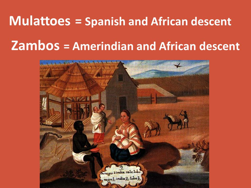 Zambos = Amerindian and African descent Mulattoes = Spanish and African descent