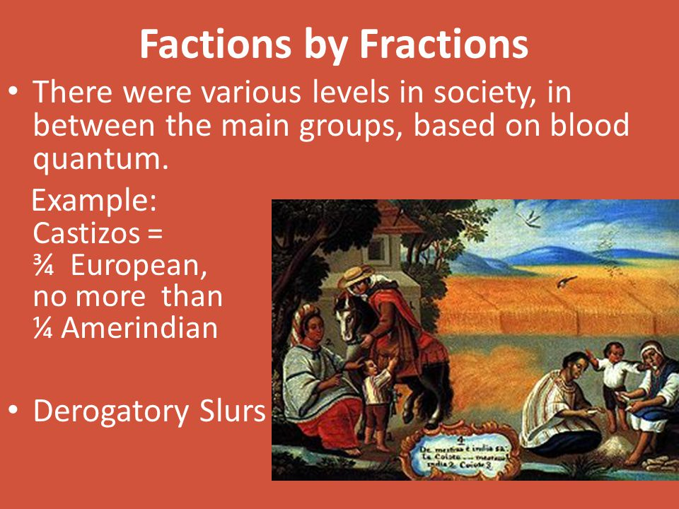 Factions by Fractions There were various levels in society, in between the main groups, based on blood quantum. Example: Castizos = ¾ European, no mor