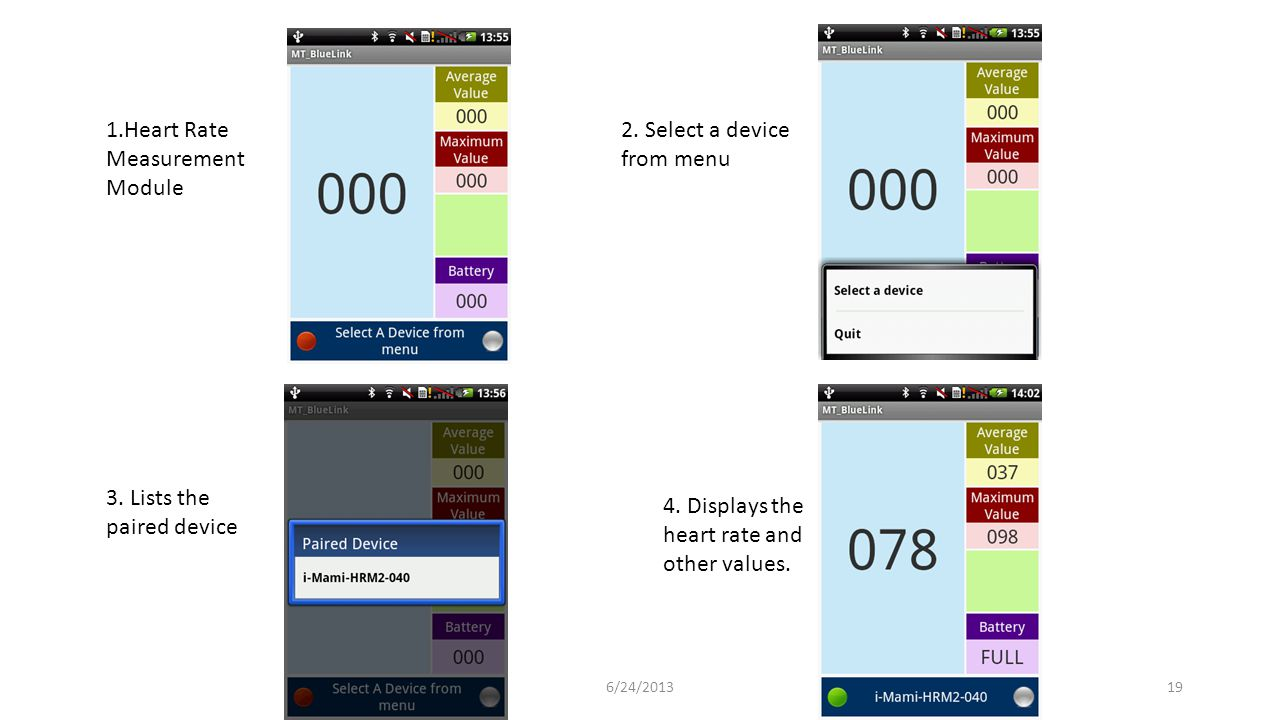 1.Heart Rate Measurement Module 2. Select a device from menu 3. Lists the paired device 4. Displays the heart rate and other values. 196/24/2013