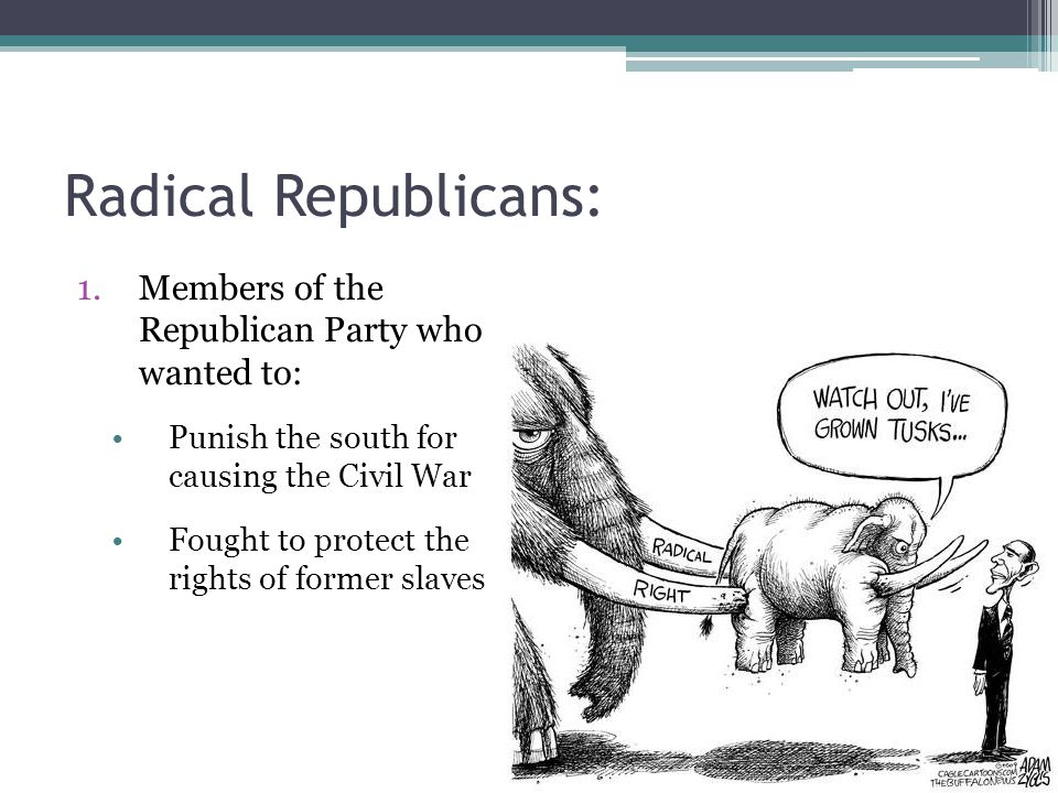 Radical Republicans: 1.Members of the Republican Party who wanted to: Punish the south for causing the Civil War Fought to protect the rights of former slaves