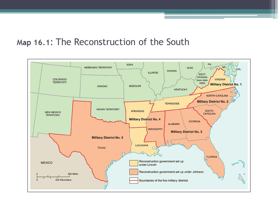 Map 16.1 : The Reconstruction of the South