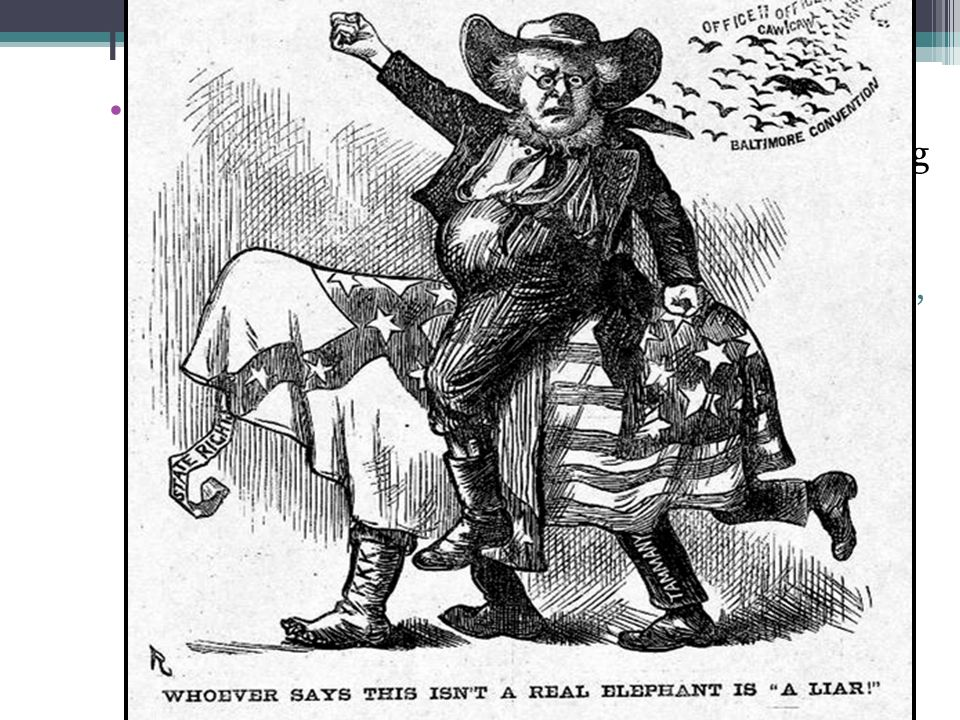 The Election of 1872 Corruption scandals & the failure of Reconstruction in the South led to a split among Republicans: ▫Liberal Republicans ▫Liberal Republicans were tired of the Grant scandals & believed in reconciling with the South, not military intervention ▫In 1872, Liberal Republicans ran Horace Greeley against Grant
