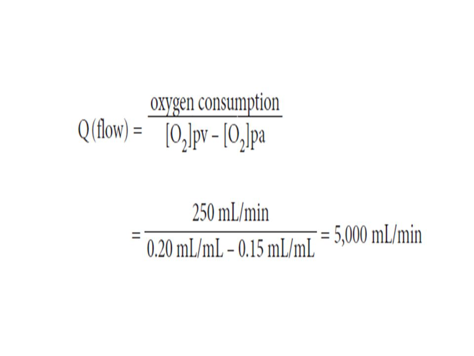 In a test subject, oxygen consumption was measured at 700 mL/min.Pulmonary artery oxygen content was 140 mL per liter of blood and brachial artery oxygen content was 210 mL per liter of blood.