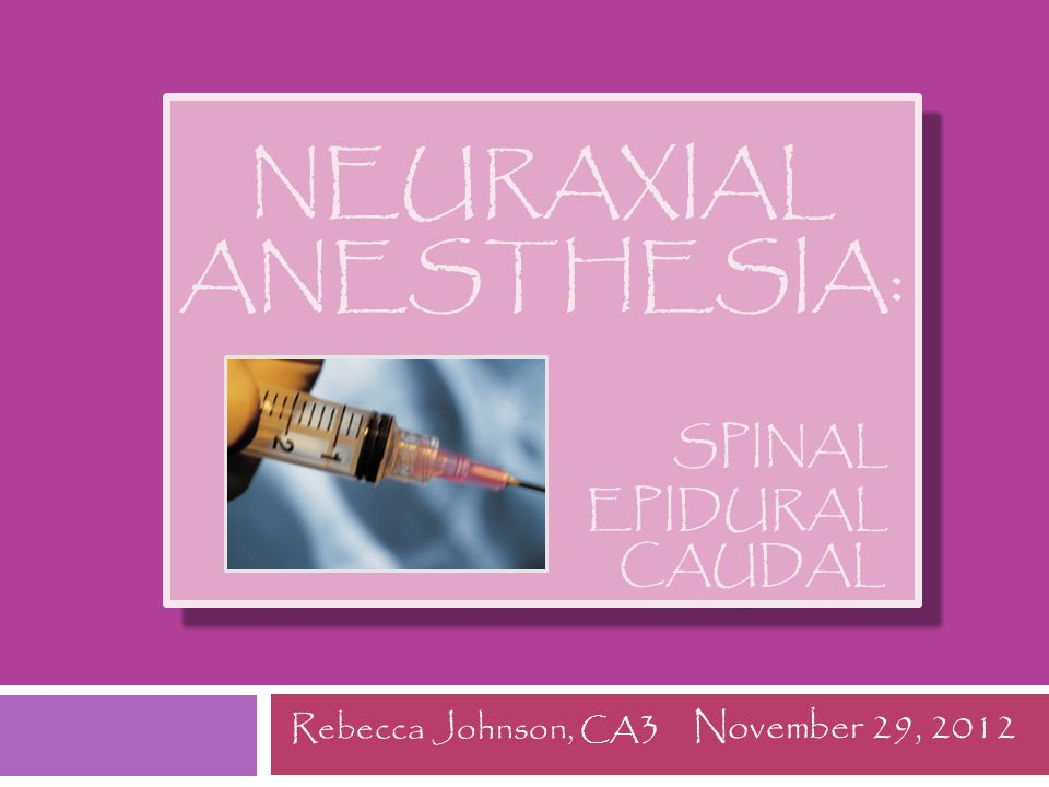 Outline  Anatomy  Mechanism of Action  Systemic Manifestations  Indications/Contrandications  Anticoagulants/Antiplatelets  Anatomic Approaches  Spinal Anesthesia  Epidural Anesthesia  Caudal Anesthesia  Complications