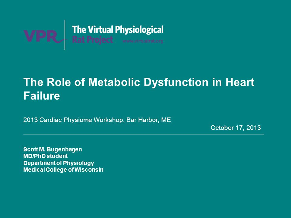 The Role of Metabolic Dysfunction in Heart Failure 2013 Cardiac Physiome Workshop, Bar Harbor, ME October 17, 2013 Scott M.