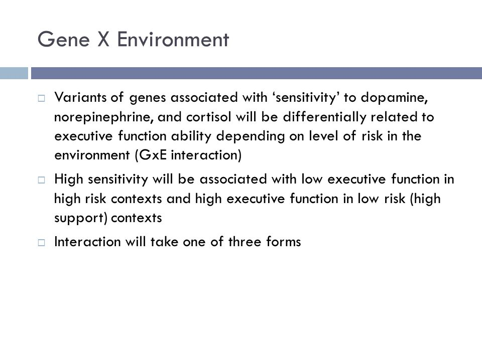 Gene X Environment  Variants of genes associated with 'sensitivity' to dopamine, norepinephrine, and cortisol will be differentially related to executive function ability depending on level of risk in the environment (GxE interaction)  High sensitivity will be associated with low executive function in high risk contexts and high executive function in low risk (high support) contexts  Interaction will take one of three forms