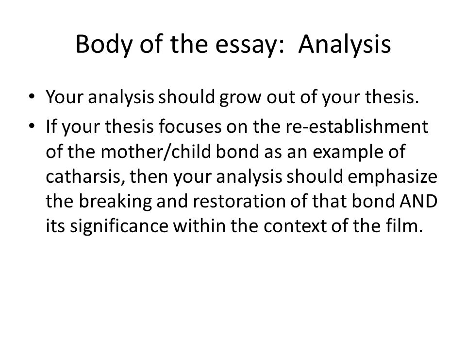 Body of the essay: Analysis Your analysis should be organized into distinct points and paragraphs.