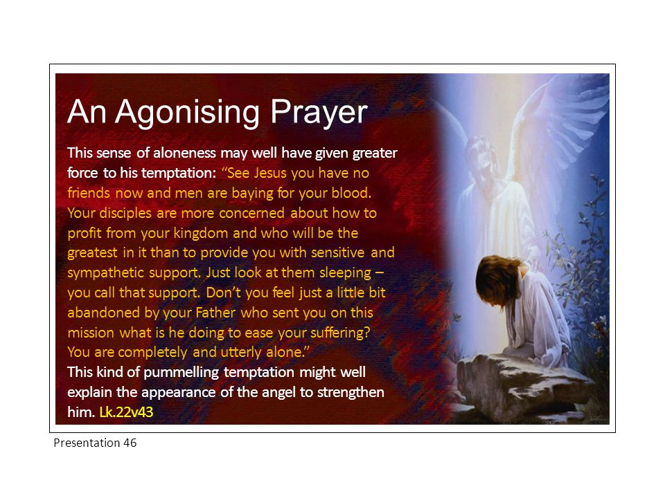 """Presentation 46 An Agonising Prayer This sense of aloneness may well have given greater force to his temptation: """"See Jesus you have no friends now an"""