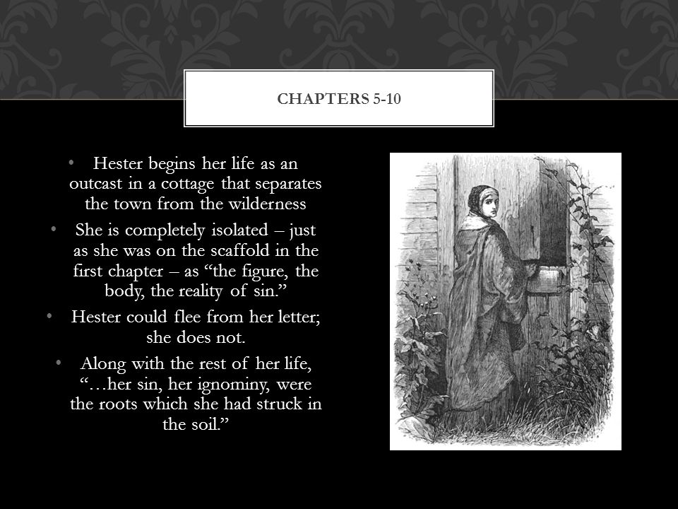 Hester begins her life as an outcast in a cottage that separates the town from the wilderness She is completely isolated – just as she was on the scaffold in the first chapter – as the figure, the body, the reality of sin. Hester could flee from her letter; she does not.