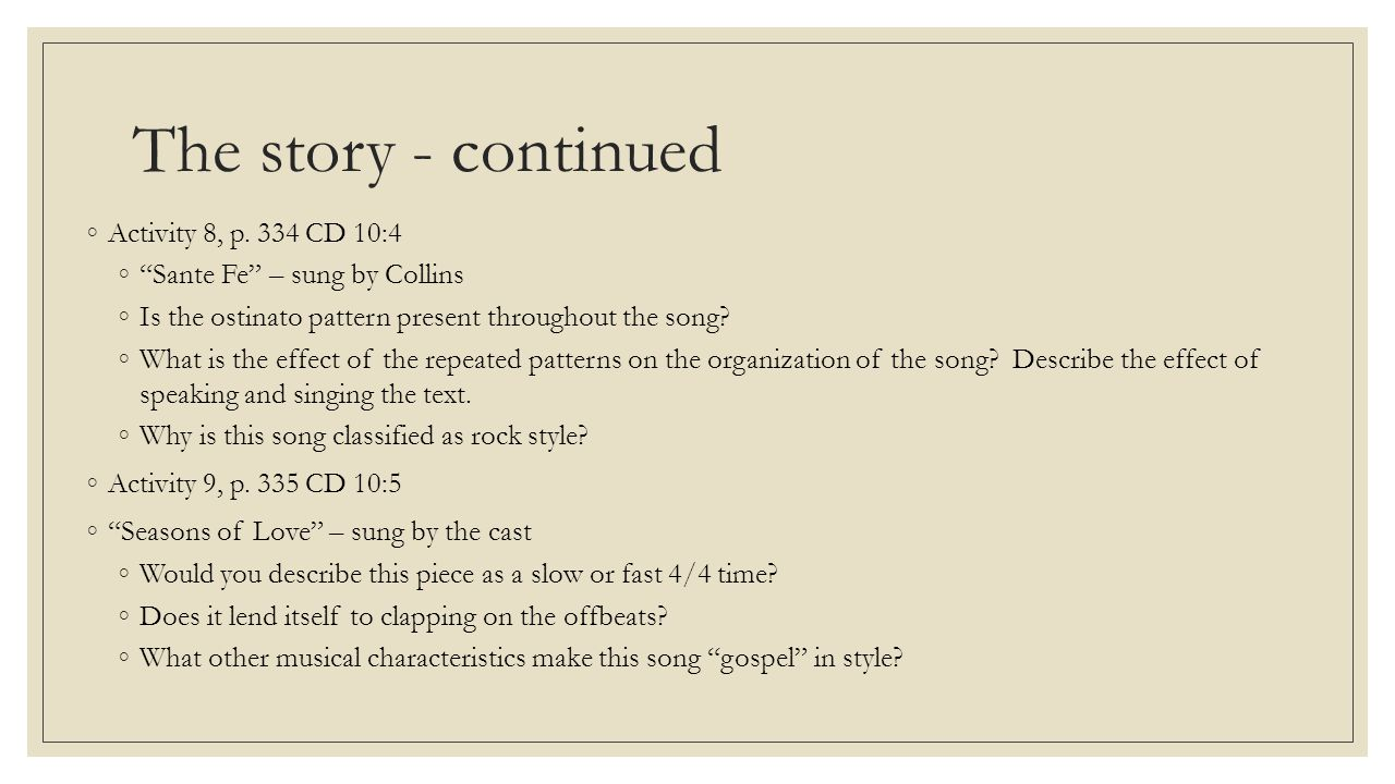 The story - continued ◦Activity 8, p.