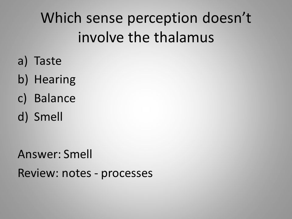 Which sense perception doesn't involve the thalamus a)Taste b)Hearing c)Balance d)Smell Answer: Smell Review: notes - processes