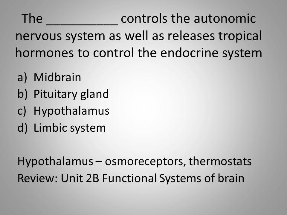The autonomic nervous system has motor neurons innervating a)Skeletal muscles b)Viscera and glands c)Myelinated axons d)Effectors neurons Answer: Viscera and glands Review: Unit 2C : ANS vs.
