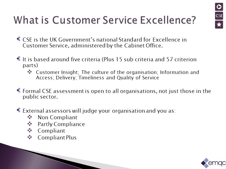 CSE is the UK Government's national Standard for Excellence in Customer Service, administered by the Cabinet Office.
