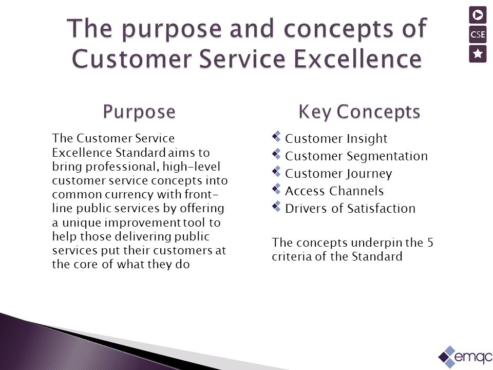 The Customer Service Excellence Standard aims to bring professional, high-level customer service concepts into common currency with front- line public services by offering a unique improvement tool to help those delivering public services put their customers at the core of what they do Customer Insight Customer Segmentation Customer Journey Access Channels Drivers of Satisfaction The concepts underpin the 5 criteria of the Standard