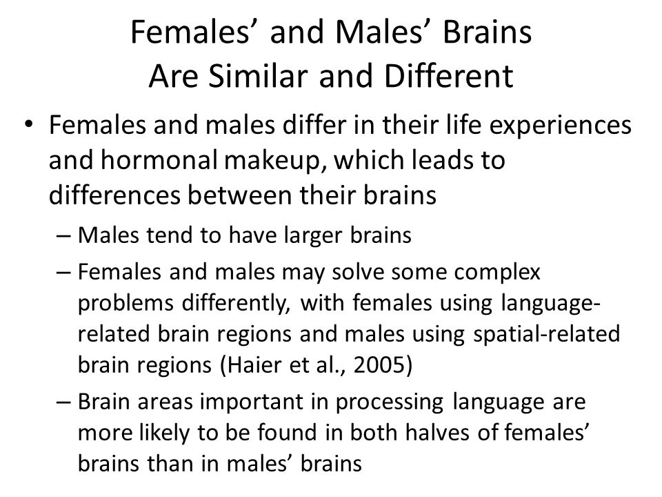 Females' and Males' Brains Are Similar and Different Females and males differ in their life experiences and hormonal makeup, which leads to differences between their brains – Males tend to have larger brains – Females and males may solve some complex problems differently, with females using language- related brain regions and males using spatial-related brain regions (Haier et al., 2005) – Brain areas important in processing language are more likely to be found in both halves of females' brains than in males' brains