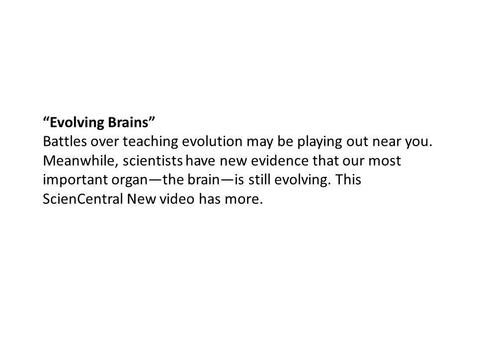 Evolving Brains Battles over teaching evolution may be playing out near you.