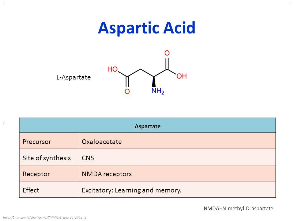 Kuls oo m Aspartic Acid Aspartate PrecursorOxaloacetate Site of synthesisCNS ReceptorNMDA receptors EffectExcitatory: Learning and memory. L-Aspartate