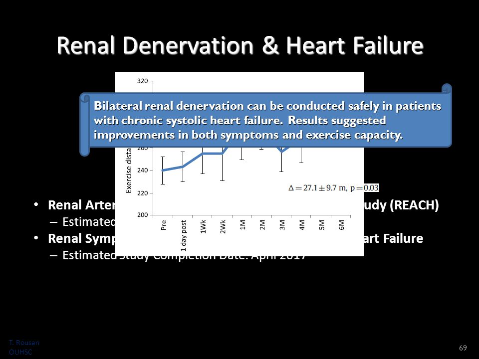 Renal Denervation & Heart Failure Renal Artery Denervation in Chronic Heart Failure Study (REACH) – Estimated Primary Completion Date: August 2014 Renal Sympathetic Modification in Patients With Heart Failure – Estimated Study Completion Date: April 2017 69 Bilateral renal denervation can be conducted safely in patients with chronic systolic heart failure.