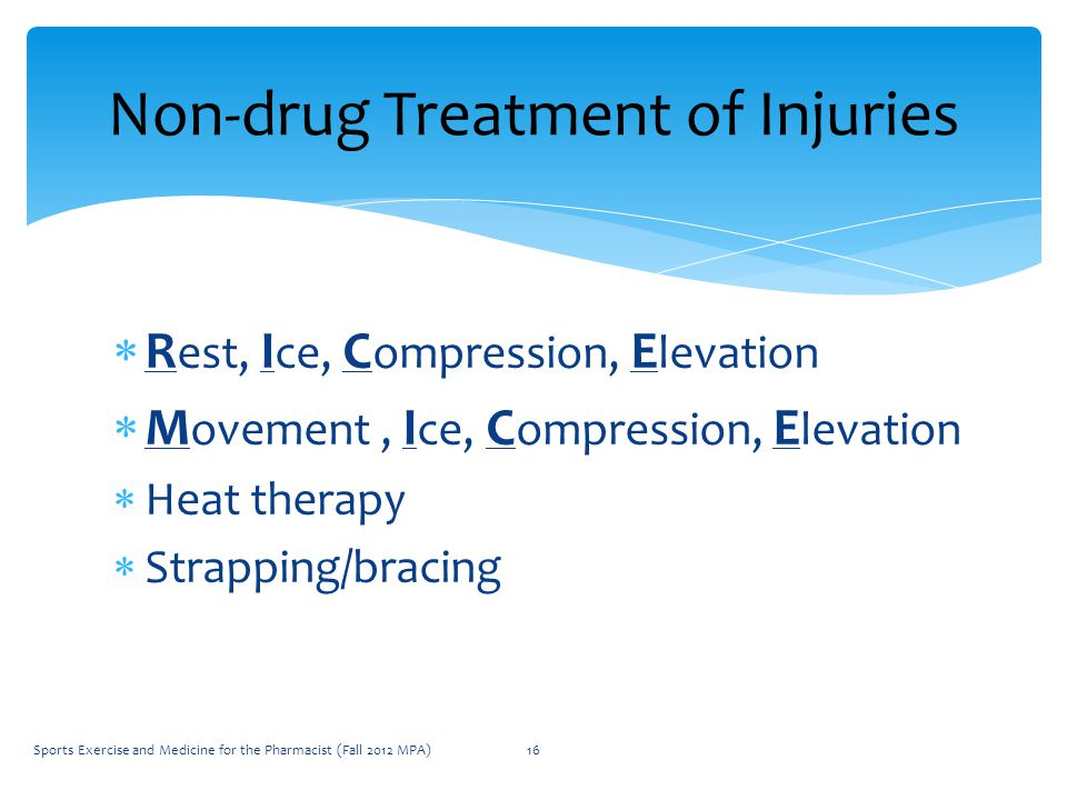  R est, I ce, C ompression, E levation  M ovement, I ce, C ompression, E levation  Heat therapy  Strapping/bracing Non-drug Treatment of Injuries Sports Exercise and Medicine for the Pharmacist (Fall 2012 MPA)16