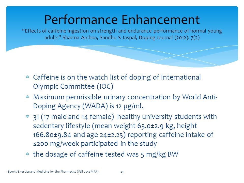 Caffeine is on the watch list of doping of International Olympic Committee (IOC)  Maximum permissible urinary concentration by World Anti- Doping Agency (WADA) is 12 µg/ml.