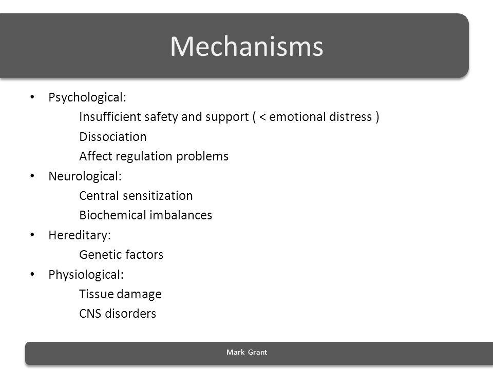 Mechanisms Psychological: Insufficient safety and support ( < emotional distress ) Dissociation Affect regulation problems Neurological: Central sensi