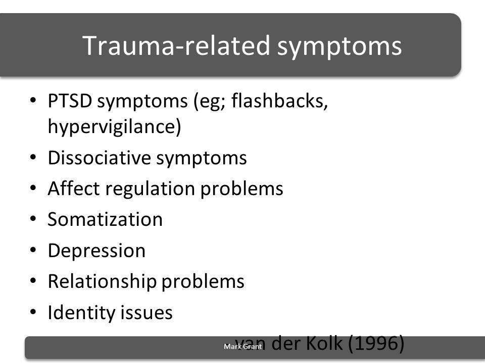 Trauma-related symptoms PTSD symptoms (eg; flashbacks, hypervigilance) Dissociative symptoms Affect regulation problems Somatization Depression Relati
