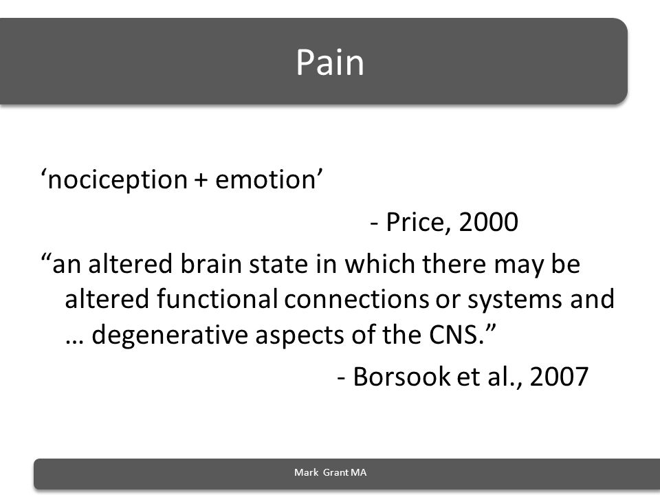 Biochemical changes (from stress to pain) Mark Grant MA