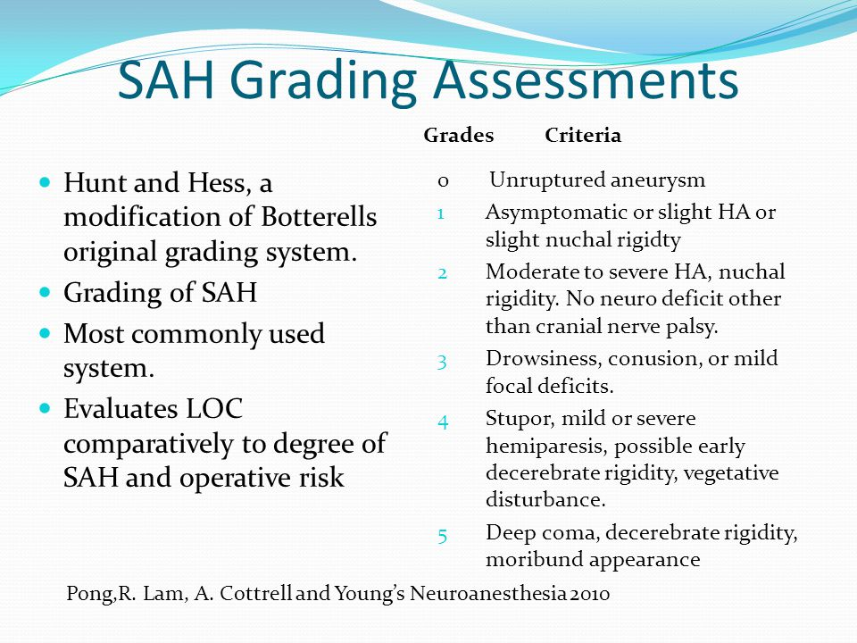 SAH Grading Assessments Hunt and Hess, a modification of Botterells original grading system. Grading of SAH Most commonly used system. Evaluates LOC c
