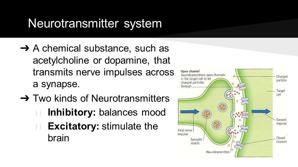 Neurotransmitter system ➔ A chemical substance, such as acetylcholine or dopamine, that transmits nerve impulses across a synapse. ➔ Two kinds of Neur