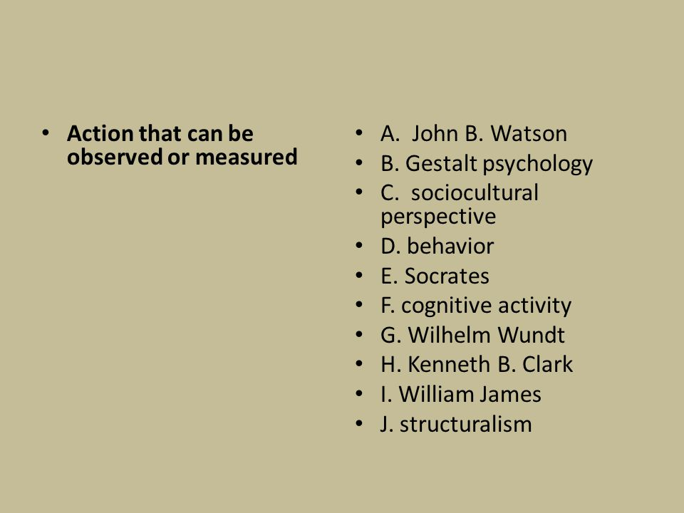 Action that can be observed or measured A. John B. Watson B. Gestalt psychology C. sociocultural perspective D. behavior E. Socrates F. cognitive acti