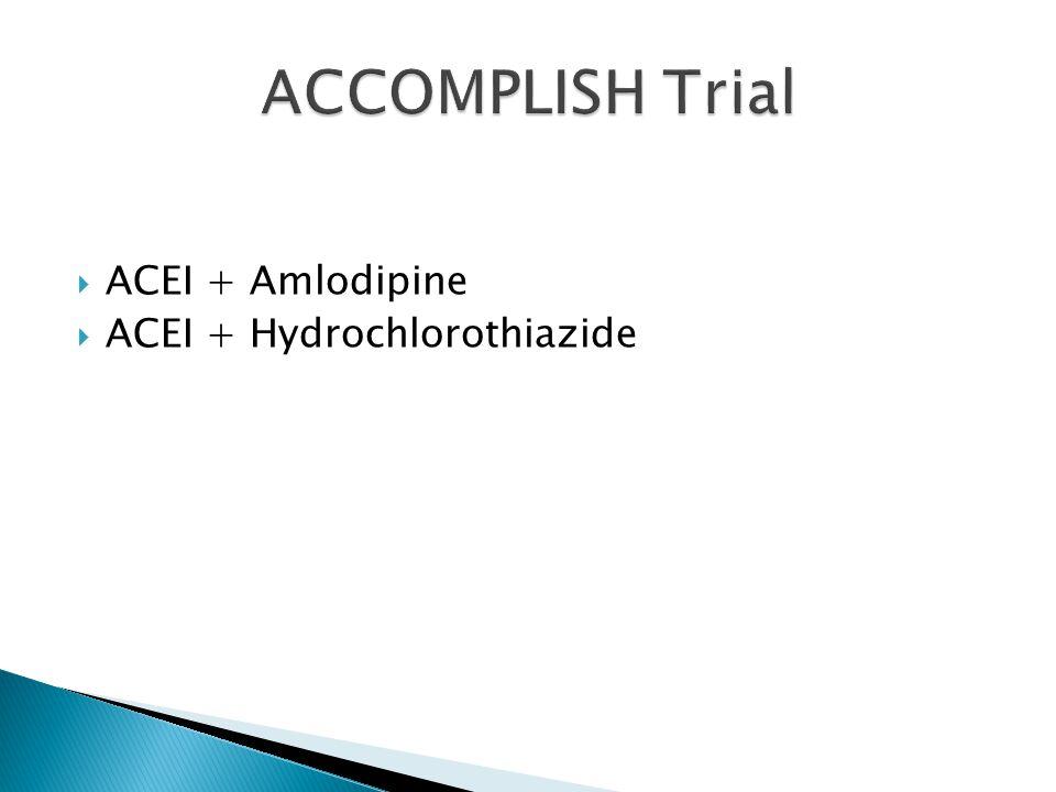  ACEI + Amlodipine  ACEI + Hydrochlorothiazide