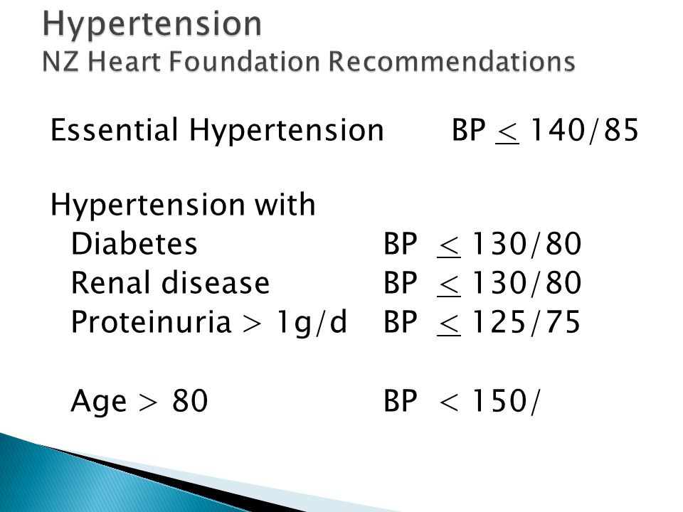 Essential HypertensionBP < 140/85 Hypertension with Diabetes BP < 130/80 Renal diseaseBP < 130/80 Proteinuria > 1g/dBP < 125/75 Age > 80BP < 150/