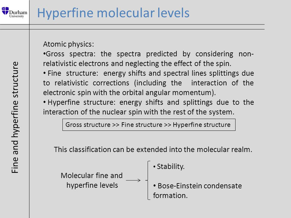 Atomic hyperfine structure Hyperfine splitting ≈ GHz ≈ 10 -1 K S → Electronic spin L → Orbital angular momentum I → Nuclear spin Alkali atoms → L =0, S =1/2 F=S+I Ĥ hf = A I Rb ∙ S Rb Hyperfine molecular levels Ĥ z = g s μ B B∙S Rb - g Rb μ N B∙I Rb