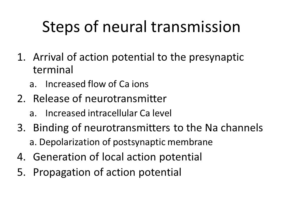 Steps of neural transmission 1.Arrival of action potential to the presynaptic terminal a.Increased flow of Ca ions 2.Release of neurotransmitter a.Increased intracellular Ca level 3.Binding of neurotransmitters to the Na channels a.
