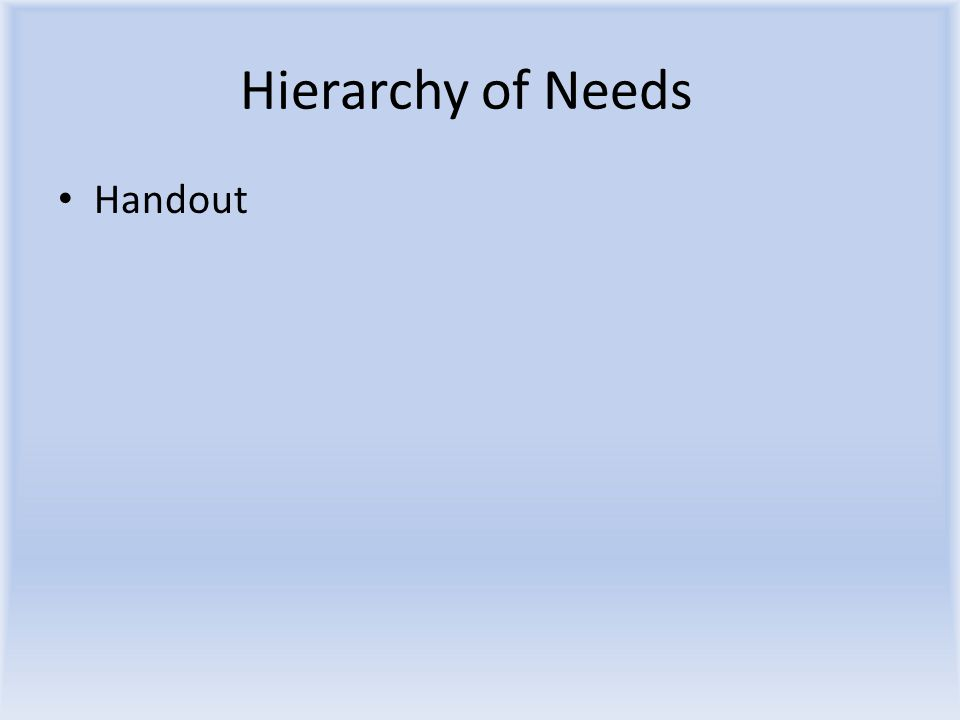 Hierarchy of Needs Handout