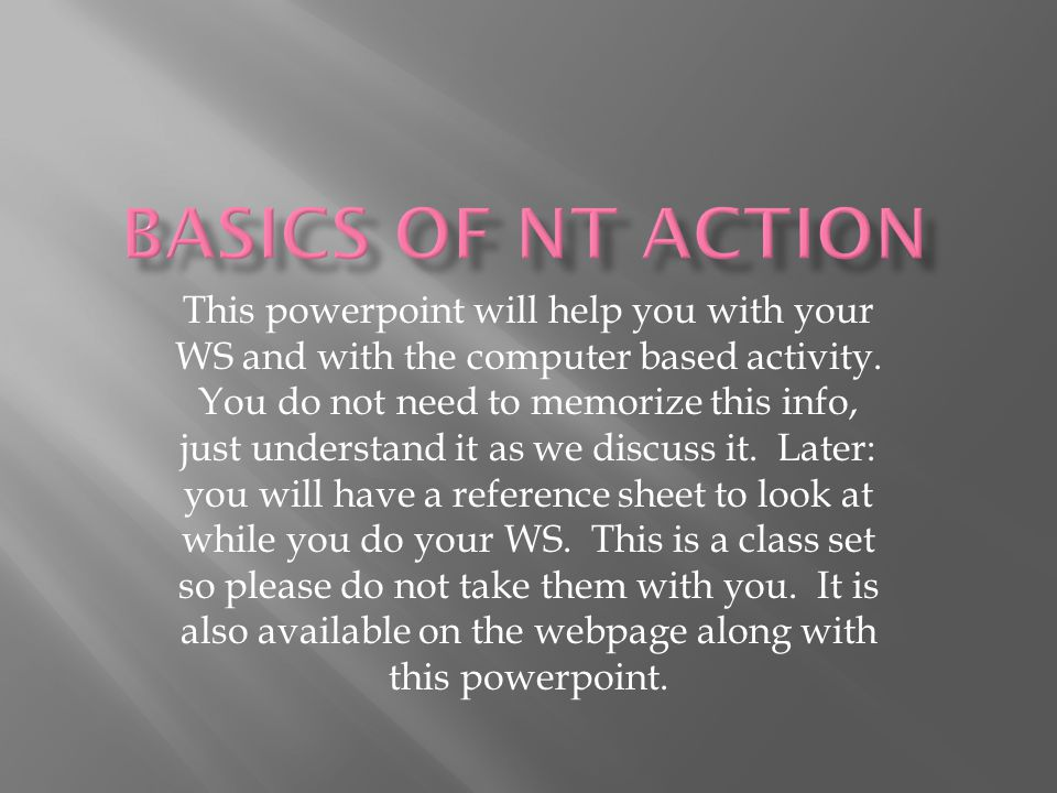 This powerpoint will help you with your WS and with the computer based activity.