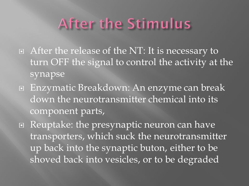  After the release of the NT: It is necessary to turn OFF the signal to control the activity at the synapse  Enzymatic Breakdown: An enzyme can break down the neurotransmitter chemical into its component parts,  Reuptake: the presynaptic neuron can have transporters, which suck the neurotransmitter up back into the synaptic buton, either to be shoved back into vesicles, or to be degraded