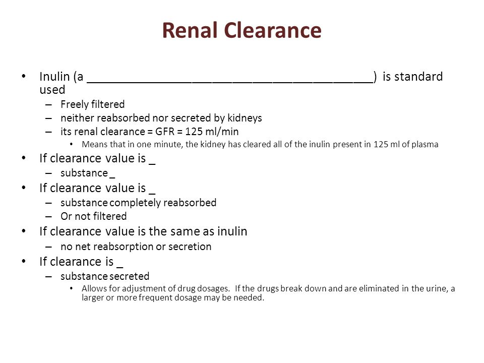 Renal Clearance Inulin (a ___________________________________________) is standard used – Freely filtered – neither reabsorbed nor secreted by kidneys