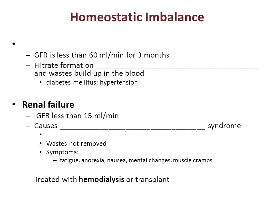 Homeostatic Imbalance – GFR is less than 60 ml/min for 3 months – Filtrate formation _______________________________________ and wastes build up in th