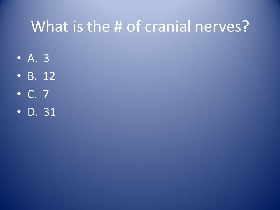 What is the # of cranial nerves? A. 3 B. 12 C. 7 D. 31